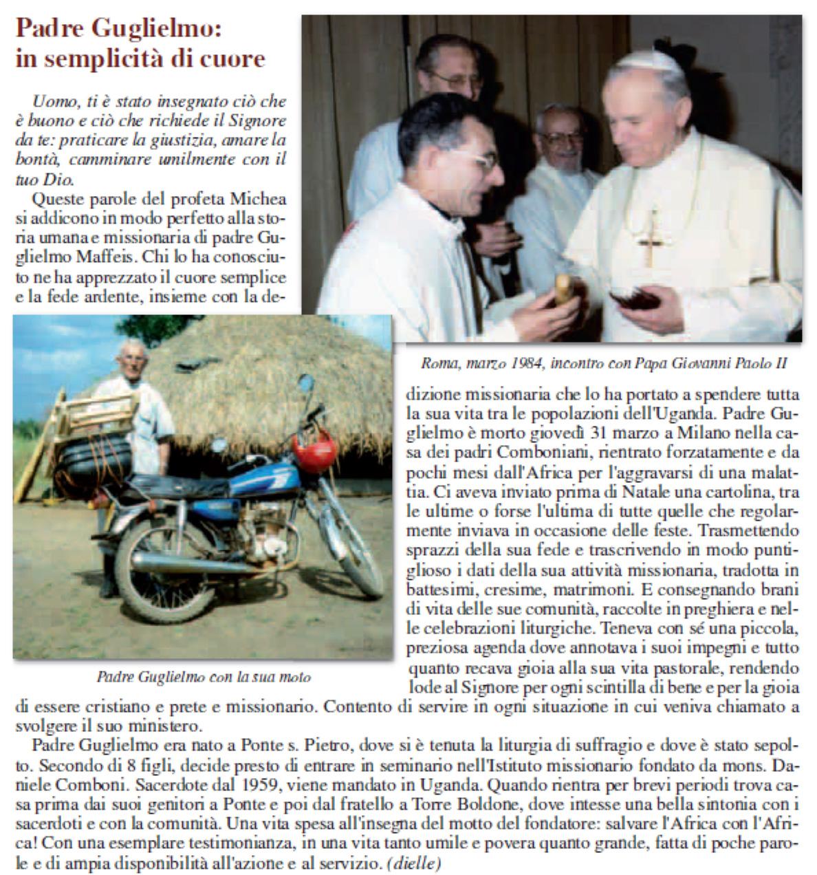 Padre Gulielmo Maffeis epitaffio