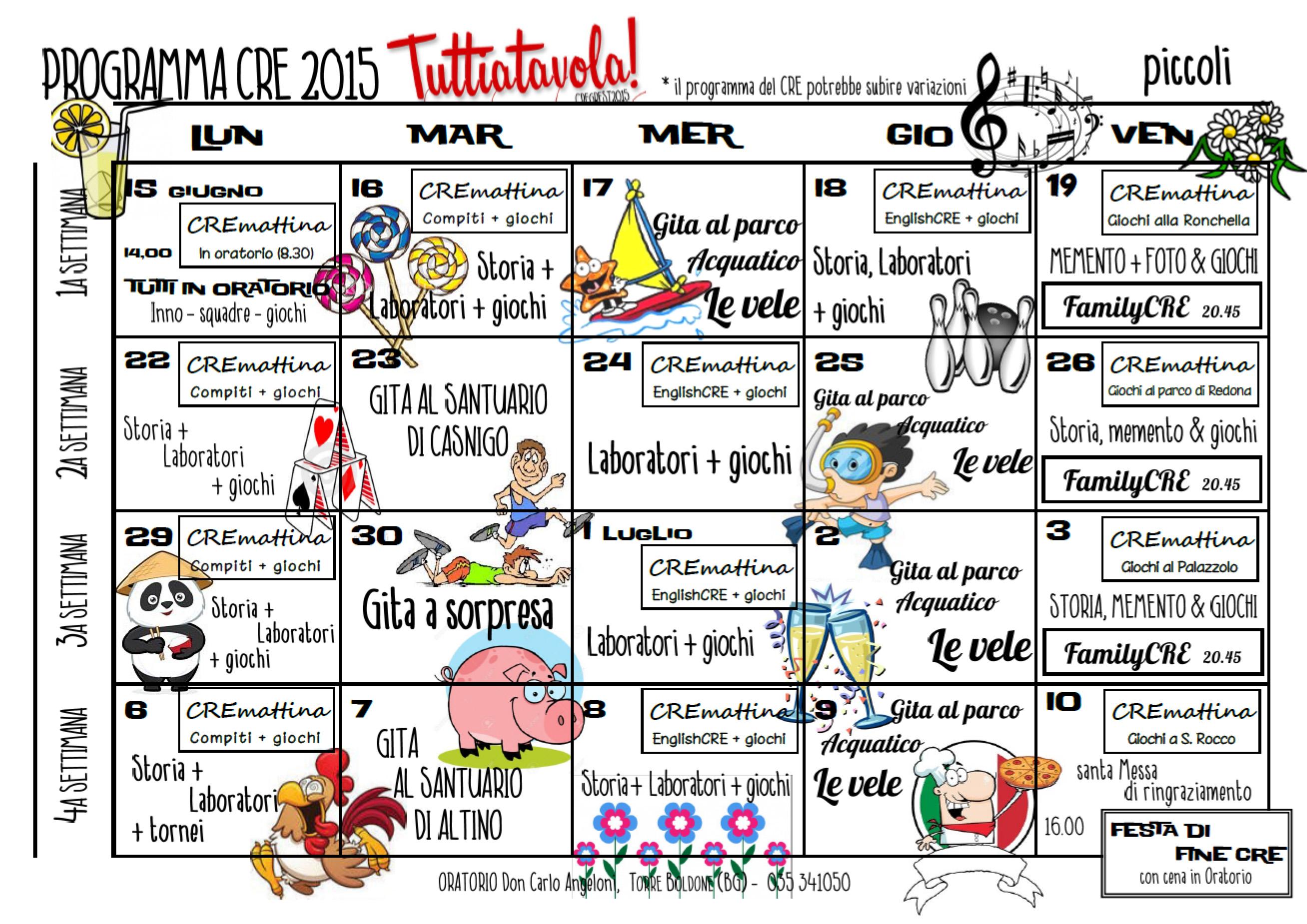 CRE 2015 -programma piccoli