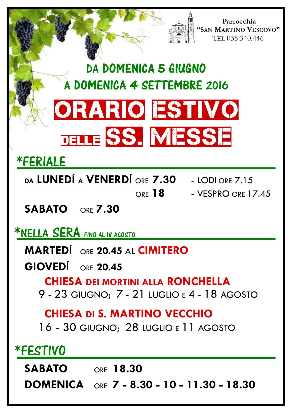 ORARIO ESTIVO MESSE 2016 P1