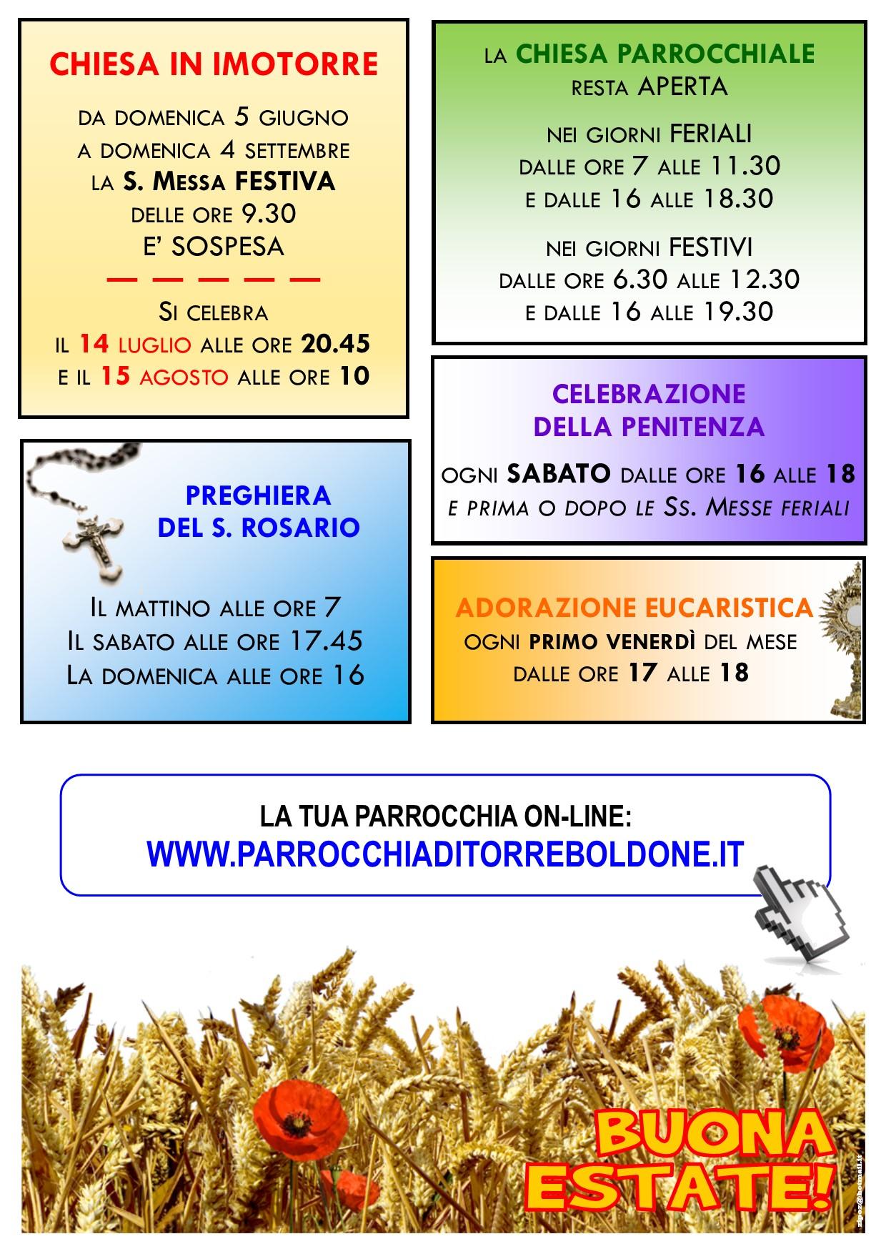 ORARIO ESTIVO MESSE 2016 P2
