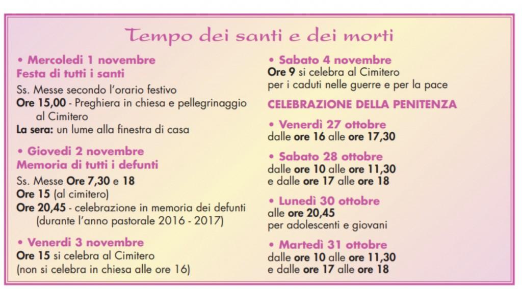 programma santi e morti 2017